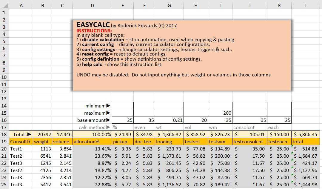 Rate matrix calculation